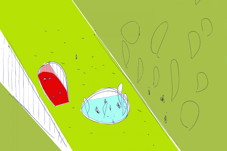 swimming pool Kutina • sketch • greenroof